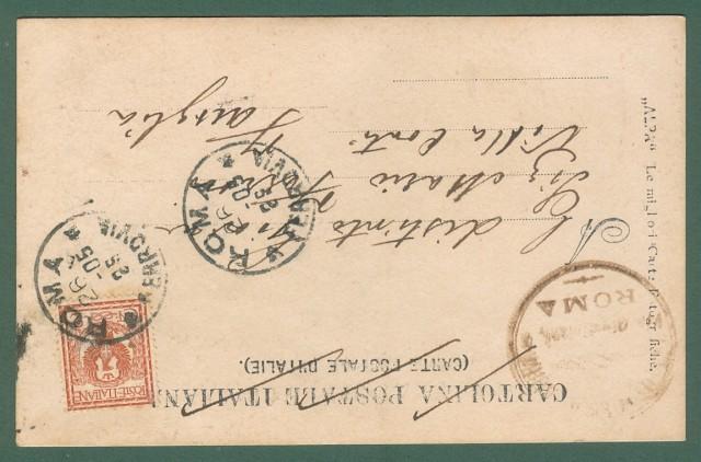 ROMA. Commemorazione a V. Hugo. Cartolina fotografica viaggiata nel 1905.