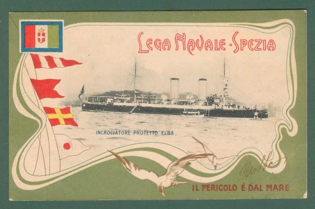 LEGA NAVALE SPEZIA. Incrociatore Elba. Cartolina d'epoca viaggiata nel 1900
