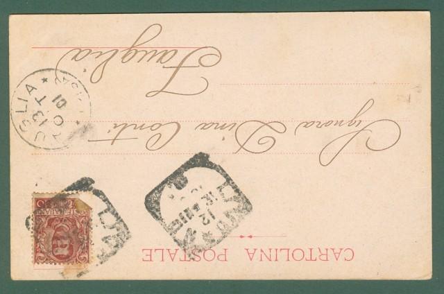 LEGA NAVALE SPEZIA. Corazzata Sicilia. Cartolina d'epoca viaggiata nel 1901