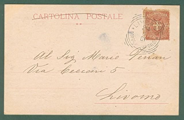 LEGA NAVALE SPEZIA. Corazzata A. Doria. Cartolina d'epoca viaggiata nel 1901.