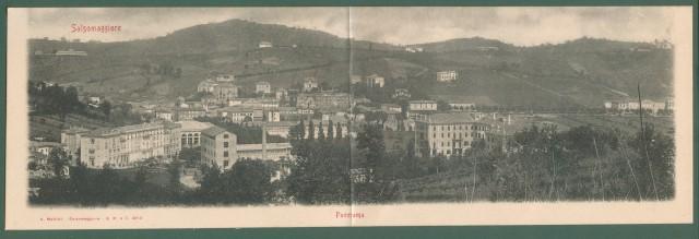 Emilia Romagna. SALSOMAGGIORE, Parma. Panorama. Cartolina d'epoca doppia, non viaggiata, circa 1910