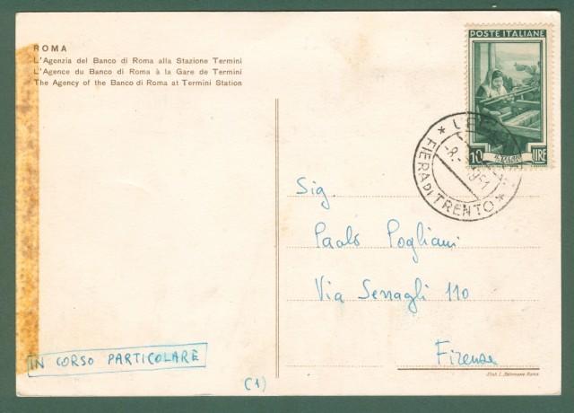 BANCO DI ROMA. Cartolina d'epoca viaggiata nel 1951