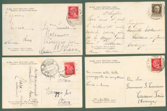 Calabria. COSENZA, Sila. Quattro cartoline d'epoca viaggiate tra il 1929 e il 1934