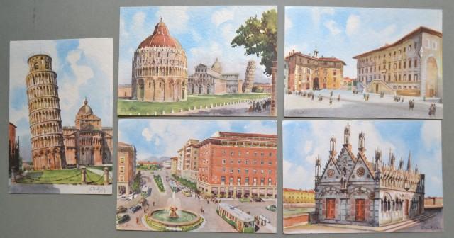 FRATTINI G.. Cinque cartoline d'epoca a colori con scorci di Pisa.