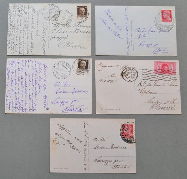 Liguria. SAVONA. Cinque cartoline d'epoca viaggiate nel 1932 - 1938.