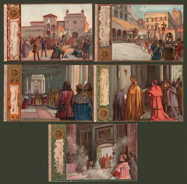 Giubileo - Papato. LESSI E LEONI. Cinque cartoline d'epoca viaggiate nel 1901. Raffiguranti i Giubilei degli anni 1300, 1400, 1700, 1825 e 1900.