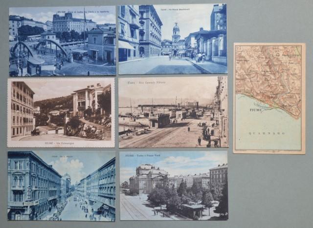 ISTRIA. Fiume. Sette cartoline d'epoca (di cui 5 viaggiate tra il 1919 - 1941).