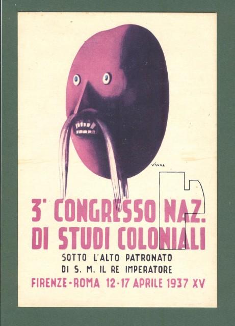 VENNA. CONGRESSO NAZ. DI STUDI COLONIALI 1937. Cartolina d'epoca non viaggiata.