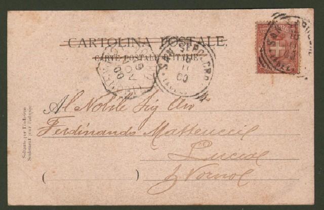 SANSEPOLCRO (Arezzo). Veduta della Castellina. Cartolina d'epoca viaggiata nel 1900.