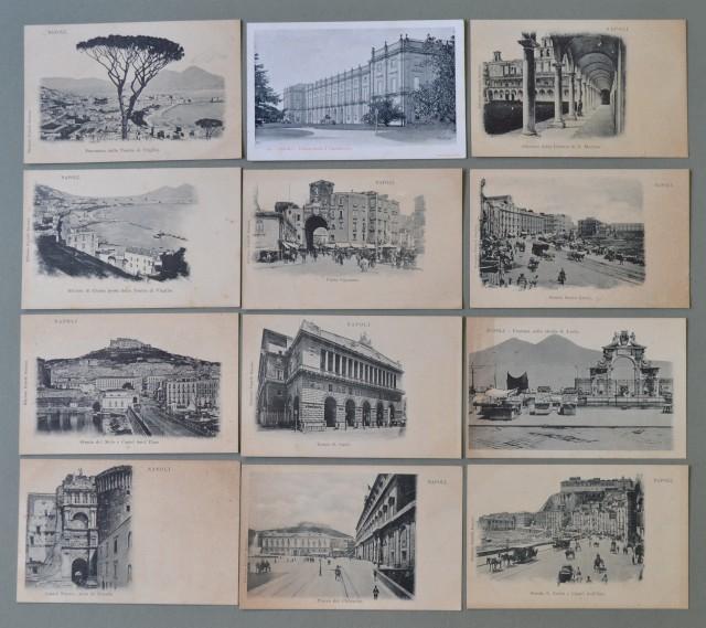 Campania. NAPOLI città. Dodici cartoline d'epoca inizio 1900, non viaggiate.