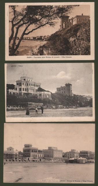 ANZIO, Roma. Tre cartoline viaggiate tra il 1905 e il 1925.