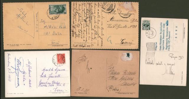 RIETI e provincia. 5 cartoline viaggiate tra il 1938 e il 1953.