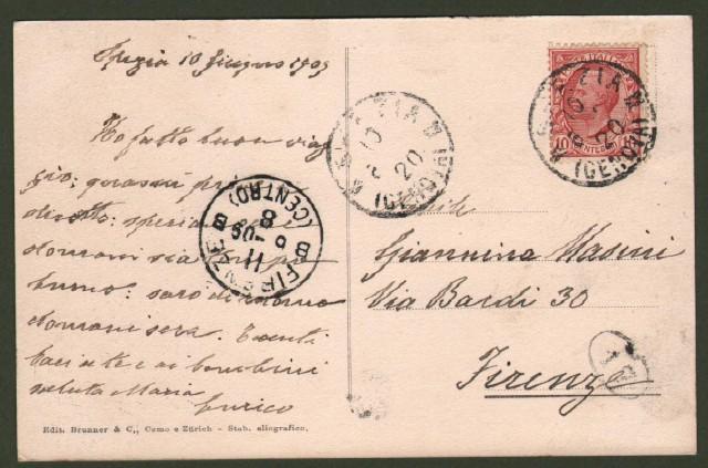 LA SPEZIA, piazza Saint Bon. Cartolina d'epoca viaggiata nel 1909.