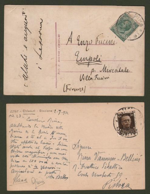 CHIAVARI, La Spezia. Due cartoline d'epoca viaggiata nel 1912 e 1932.