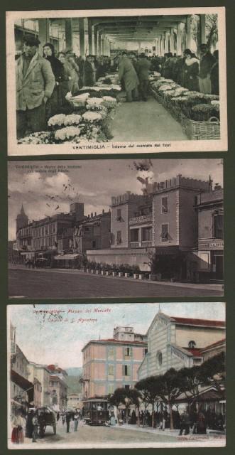 VENTIMIGLIA, Imperia. 3 cartoline d'epoca viaggiate tra il 1907 e il 1934.