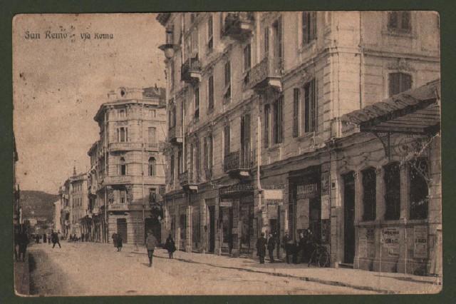 SAN REMO, Imperia. Via Roma. Cartolina d'epoca viaggiata nel 1926