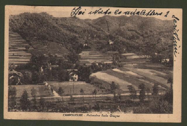 CAMPOLIGURE - Palazzine Isola Giugno. Cartolina d'epoca viaggiata nel 1944.