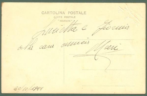 Sardegna. LA MADDALENA. Cartolina d'epoca fotografica dello Studio Beninati (timbro a secco). Viaggiata in busta nel 1907