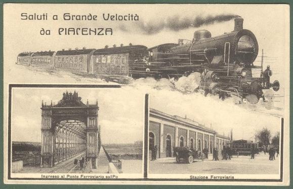 PIACENZA. Saluti a grande velocità. Cartolina d'epoca non viaggiata, circa 1920.