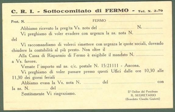 CRAFFONARA AURELIO. CROCE ROSSA ITALIANA, Comitato di Fermo. Cartolina d'epoca non viaggiata, circa 1915.