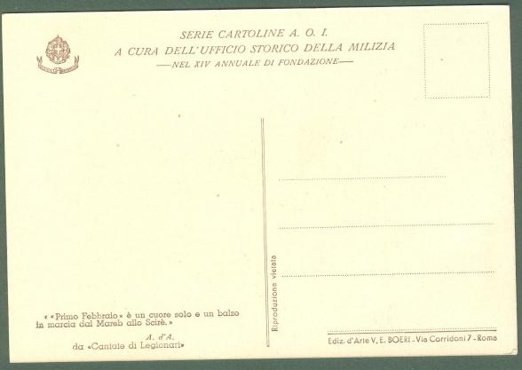 TAFURI CLEMENTE. 5'° DIVISIONE CC.NN. 1'° FEBBRAIO. SCIRE'. Cartolina d'epoca non viaggiata, edizioni Boeri, 1936.