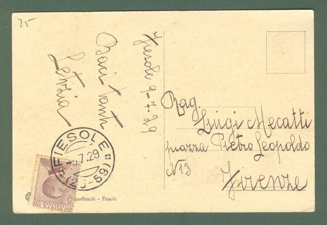 Toscana. FIESOLE, Firenze. Baccano. Cartolina d'epoca viaggiata nel 1929.