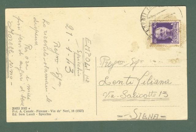 Toscana. SPICCHIO. Piazzetta su l'Arno. Cartolina d'epoca viaggiata nel 1943.