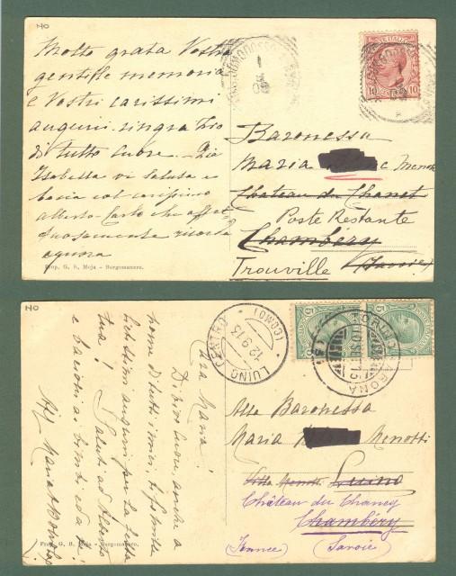 Piemonte. VERGANO, Novara. Due cartoline d'epoca viaggiate nel 1908 e 1913.