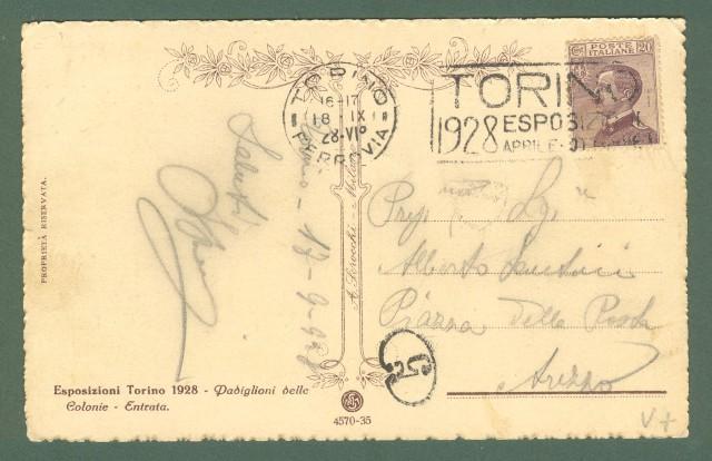 Piemonte. TORINO. Esposizione 1928, padiglione delle Colonie. Cartolina d'epoca viaggiata nel 1928.