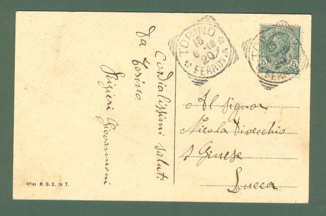 Piemonte. TORINO. Un saluto aereo, fotomontaggio. Cartolina d'epoca viaggiata nel 1912