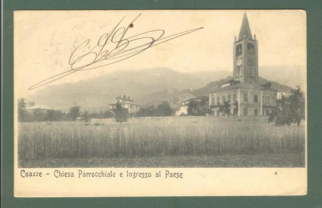 Piemonte. COAZZE, Torino. Chiesa parrocchiale e ingresso al paese. Cartolina d'epoca viaggiata nel 1905.