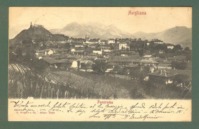 Piemonte. AVIGLIANA, Torino. Panorama. Cartolina d'epoca viaggiata nel 1909.