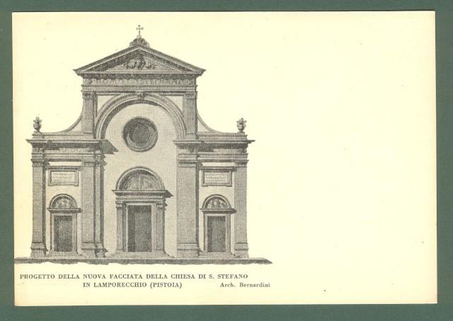Toscana. LAMPORECCHIO, Pistoia. Progetto di nuova facciata della chiesa di S. Stefano. Cartolina d'epoca non viaggiata, circa 1940.