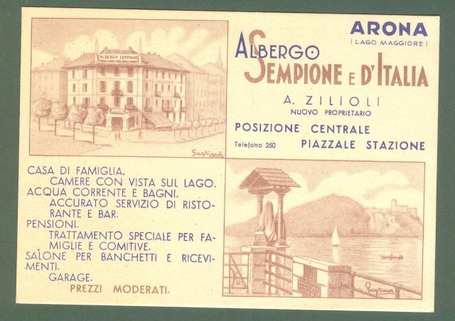 GAGLIARDI G. ALBERGO SEMPIONE D'ITALIA, Arona, Lago Maggiore. Cartolina d'epoca non viaggiata, circa 1935