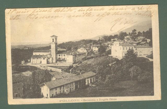 Piemonte. POLLONE, Biella. Parrocchia e Borgata Chiesa. Cartolina d'epoca viaggiata nel 1919.