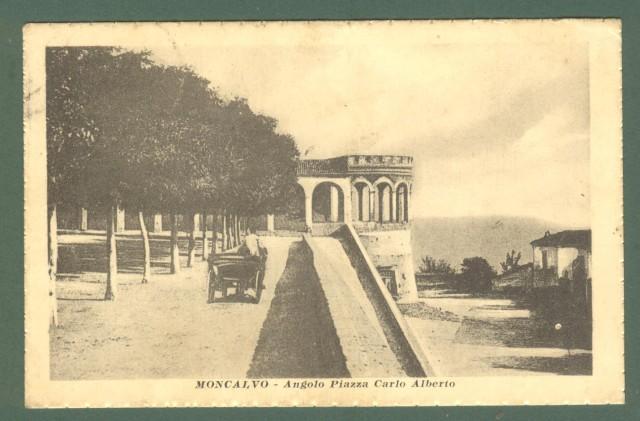 Piemonte. MONCALVO, Asti. Angolo Piazza C. Alberto. Cartolina d'epoca viaggiata nel 1917.