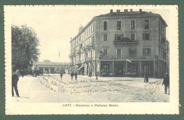 Piemonte. ASTI. Stazione e Palazzo Bosia. Cartolina d'epoca viaggiata nel 1918