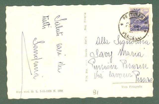 Piemonte. PETTINENGO, Biella. Frazione Livera. Cartolina d'epoca viaggiata nel 1951