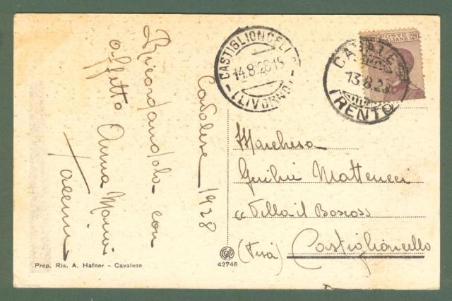 Trentino. CAVALESE E CARANO, Trento. Cartolina d'epoca viaggiata nel 1928.
