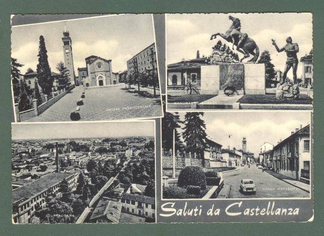 Lombardia. CASTELLANZA, Varese. Saluti da. Cartolina d'epoca viaggiata nel 1965