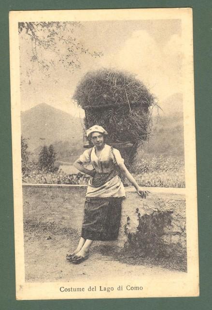 Lombardia. LAGO DI COMO. Costume. Cartolina d'epoca viaggiata nel 1928