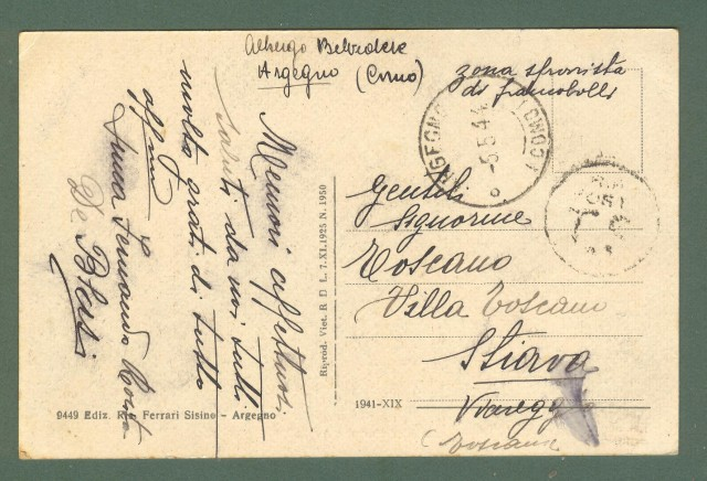 Lombardia. ARGEGNO, Como. Cartolina d'epoca viaggiata nel 1944.