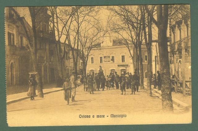 Abruzzo. ORTONA A MARE, Chieti. Municipio. Cartolina d'epoca viaggiata nel 1916