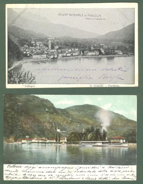 Lombardia. PORLEZZA (Como). Veduta generale - Lago di Lugano. Due cartoline d'epoca viaggiate nel 1904.
