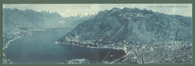 Lombardia. COMO. Como e Brunate. Panorama del 1'° bacino. Cartolina doppia (cm 28x8,8) viaggiata nel 1921.
