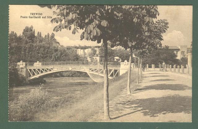 Veneto. TREVISO. Ponte Garibaldi sul Sile. Cartolina d'epoca non viaggiata, circa 1920.