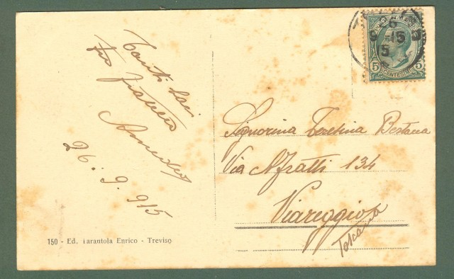 Veneto. TREVISO. Ponte S. Martino e Panorama. Cartolina d'epoca viaggiata nel 1915.
