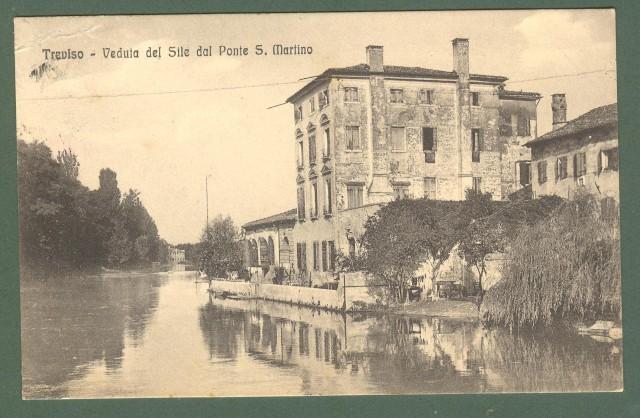 Veneto. TREVISO. Veduta del Sile. Cartolina d'epoca viaggiata nel 1916.