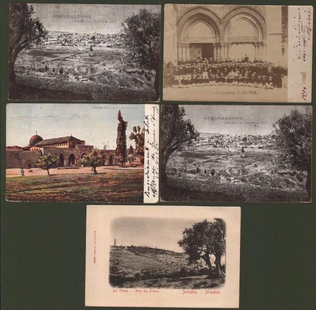 ISRAELE. Gerusalemme. 5 cartoline (4 viaggiate 1904 - 1920).