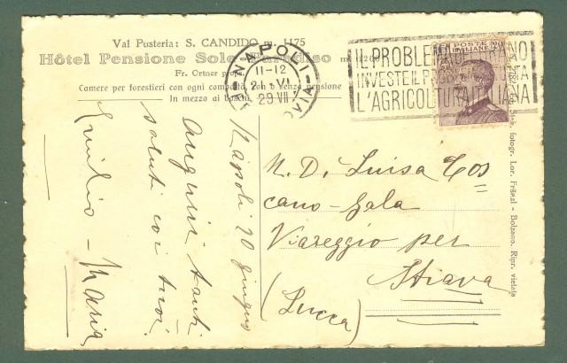 Trentino. SAN CANDIDO, Val Pusteria, Bolzano. Hotel Sole - Paradiso. Cartolina d'epoca viaggiata nel 1929.